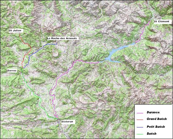 carte du domaine public fluvial Buëch et Durance dans le 05 pour le ramassage du bois mort