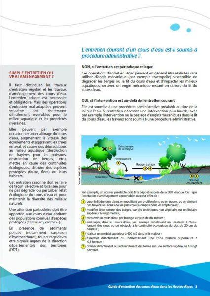 Page 3 du guide d'entretien des cours d'eau publié par la DDT des Hautes Alpes