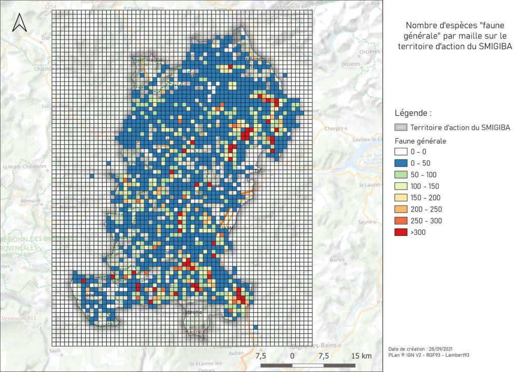 image extraite du SIG du SMIGIBA représentant le traitement des données à la maille 1000m