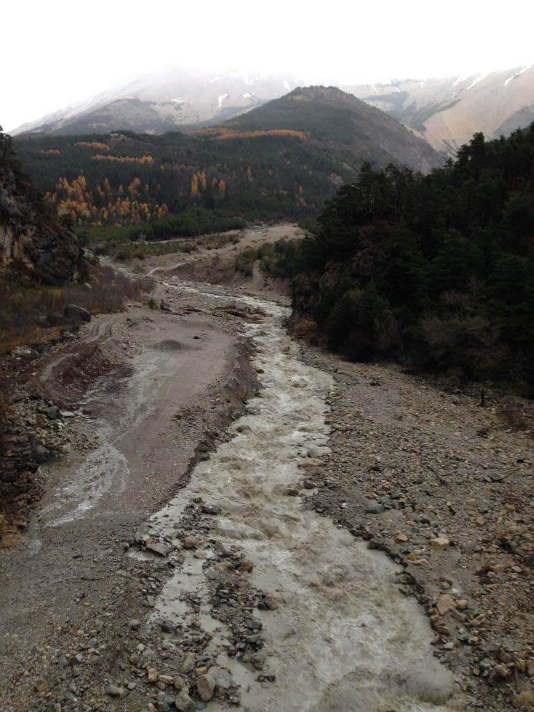 photo de la Béoux en crue après des pluies d'automne