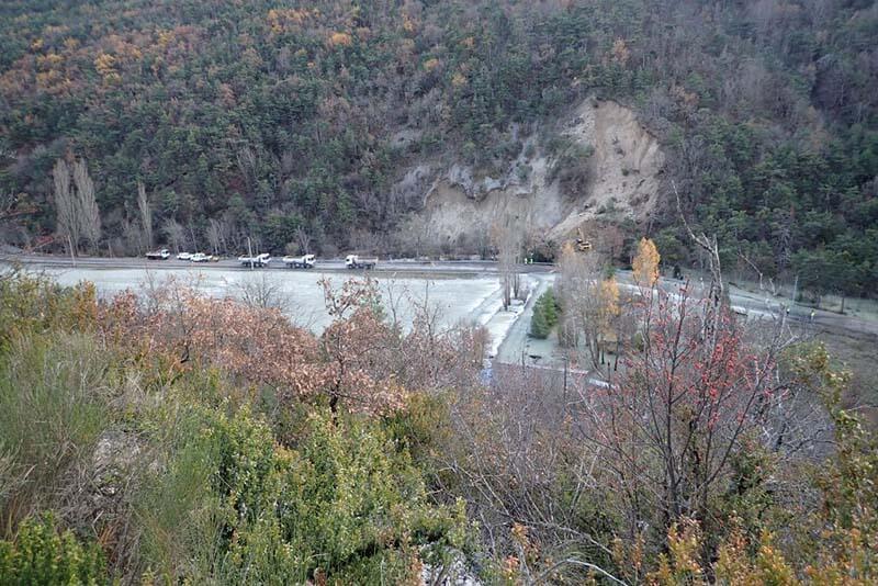 Inondation route par glissement terrain sur la Blaisance en novembre 2016